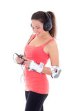 Woman in roller skates listening music on white background Stock Photography