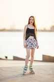 Woman in roller skates Royalty Free Stock Photos