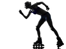 Woman in roller skates  silhouette Royalty Free Stock Photography