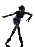 Woman in roller skates  silhouette Stock Photos