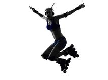 Woman in roller skates  silhouette Stock Photo