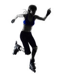 Woman in roller skates  silhouette Royalty Free Stock Images