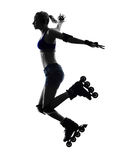 Woman in roller skates  silhouette Royalty Free Stock Image