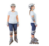 Woman roller skating Stock Images
