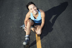 A woman with is rollerblade in summer time Royalty Free Stock Images