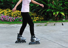 Woman rollerblading  Royalty Free Stock Image