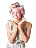 Woman with rollers in hair Royalty Free Stock Photos