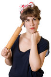 Woman with a rolling pin Royalty Free Stock Image