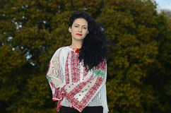Woman in Romanian Traditional Clothes Stock Photos