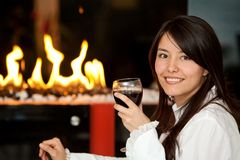 Woman at a romantic dinner Royalty Free Stock Photo