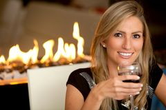 Woman at a romantic dinner Stock Photo