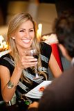 Woman in a romantic dinner Royalty Free Stock Images