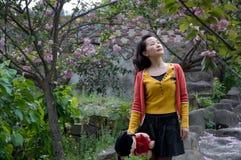Woman and Romatic Sakura Royalty Free Stock Photo