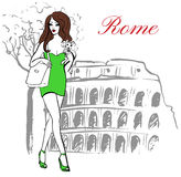 Woman in Rome. Woman with dog in hand walking near Colosseum in Rome, Italy. Artistic hand drawn ink sketch Royalty Free Stock Image