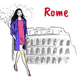 Woman in Rome. Fashion sketch of beautiful woman in Rome Royalty Free Stock Photo