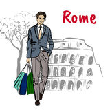 Woman in Rome. Fashion sketch of beautiful man with shopping bags in Rome Stock Images