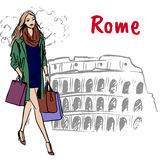 Woman in Rome. Fashion sketch of beautiful woman with shopping bags in Rome Royalty Free Stock Photography