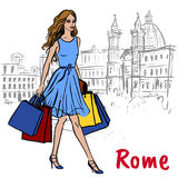Woman in Rome. Fashion sketch of beautiful woman with shopping bags in Rome Stock Image