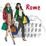 Woman in Rome. Fashion sketch of beautiful women with shopping bags in Rome Stock Photo