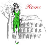 Woman in Rome. Woman staying near Colosseum in Rome, Italy Stock Photography