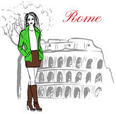 Woman in Rome. Woman staying near Colosseum in Rome, Italy. Artistic hand drawn ink sketch Stock Photo