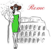 Woman in Rome. Woman staying near Colosseum in Rome, Italy. Artistic hand drawn ink sketch Stock Photos