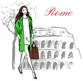 Woman in Rome. Woman walking near Colosseum in Rome, Italy. Artistic hand drawn ink sketch Stock Photography