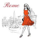 Woman in Rome. Woman walking in Piazza Navona in Rome, Italy. Artistic hand drawn ink sketch Stock Images