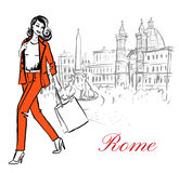 Woman in Rome. Woman walking in Piazza Navona in Rome, Italy. Artistic hand drawn ink sketch Royalty Free Stock Images