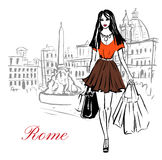 Woman in Rome. Woman walking with shopping bags in Piazza Navona in Rome, Italy. Artistic hand drawn ink sketch Royalty Free Stock Image