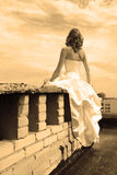 Woman on a roof. Woman in a wedding dress on a roof, a back to the camera. sepia effect Stock Photography