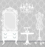 Woman room in vintage, boudoir style Stock Photos