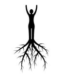 Woman roots. Woman silhouette with roots on white background Royalty Free Stock Photography