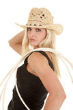 Woman rope on shoulder cowgirl Stock Photography