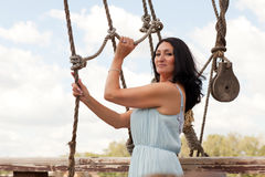Woman and ropes Royalty Free Stock Photos