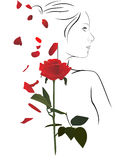 Woman and rose. Vector illustration of a female silhouette with red rose Royalty Free Stock Image