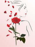 Woman and rose. Vector illustration of a female silhouette and red rose Royalty Free Stock Photo