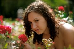 Woman and a rose Royalty Free Stock Image