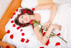 Woman with a rose Stock Photography