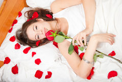 Woman with a rose Stock Photos