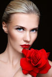 Woman with rose Royalty Free Stock Photography