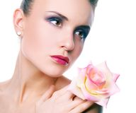 Woman with rose Royalty Free Stock Photo