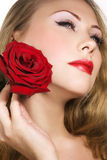 Woman with rose. Portrait of woman with red rose Stock Images