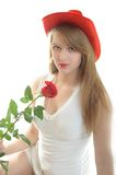 Woman with rose. Beautiful young woman with rose on white background Stock Image