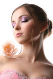 Woman with rose. Attractive woman with rose on white Stock Photos