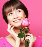 Woman with rose Stock Images