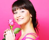 Woman with rose Stock Photo