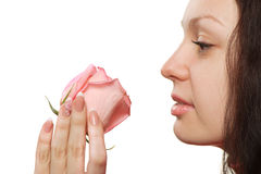 The woman with a rose closeup Royalty Free Stock Photography