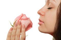 The woman with a rose closeup Royalty Free Stock Photos
