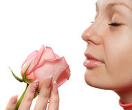 The woman with a rose closeup Royalty Free Stock Photo